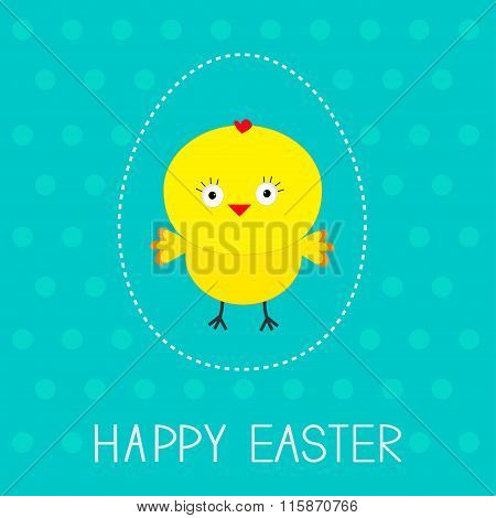 Easter Chicken And Dash Egg. Dot Pattern. Card.