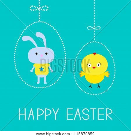 Easter Chicken And Bunny. Hanging Dash Eggs. Card.