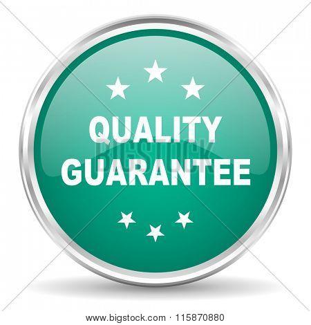 quality guarantee blue glossy circle web icon