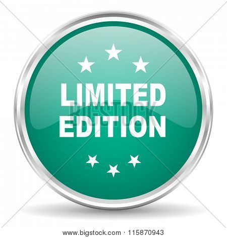 limited edition blue glossy circle web icon