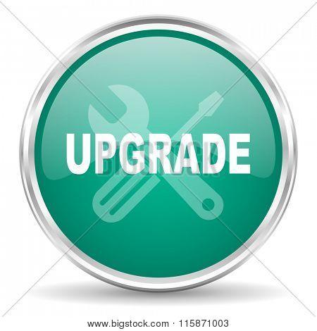 upgrade blue glossy circle web icon