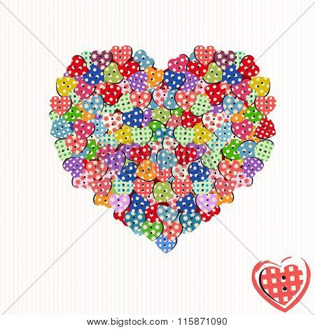 Colorful button hearts scattered and piled in shape of heart - playful creative  graphic design
