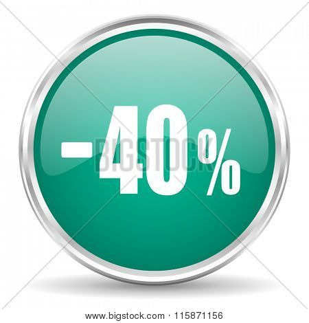 40 percent sale retail blue glossy circle web icon