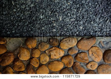 Decorative Floor Pattern Of Sand And Small Gravel Stones, Texture Abstract Background
