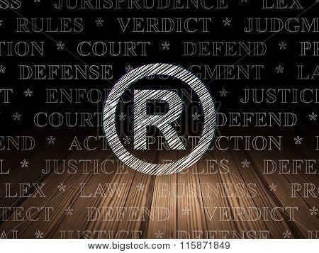 Law concept: Registered in grunge dark room