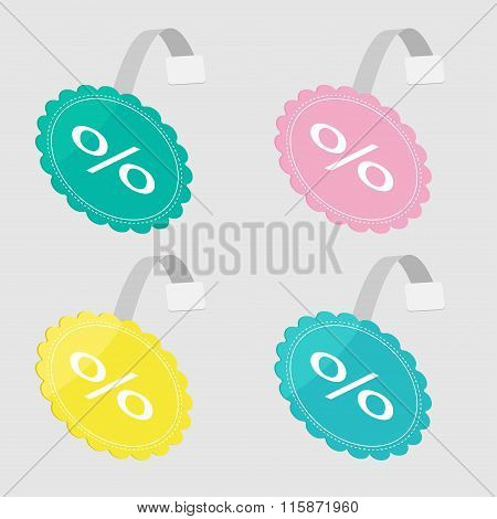 Wobbler Percent Set  In Shape Of Round Flower. Flat Design.