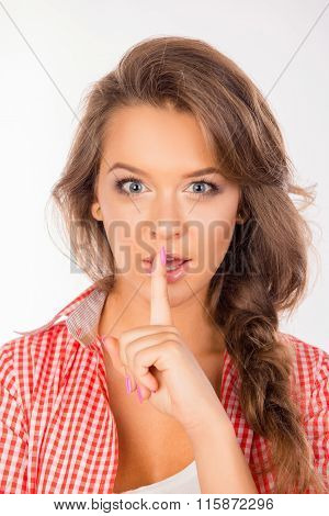 Pretty Young Cute Woman Making Silence Sign