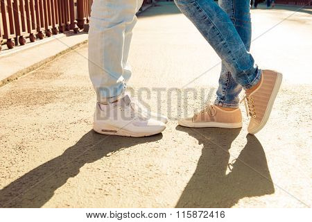 Closeup Photo Of Couple In Love On The Bridge Standing Together