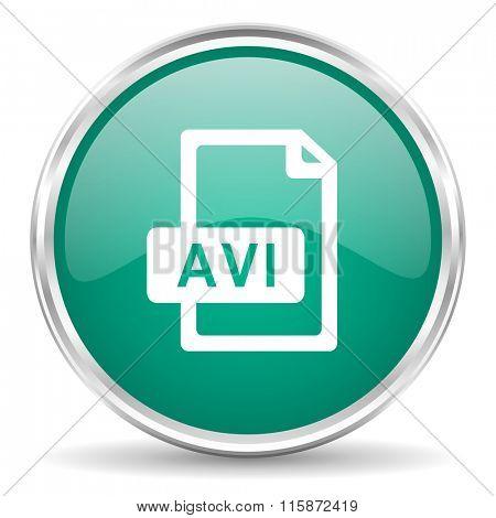 avi file blue glossy circle web icon