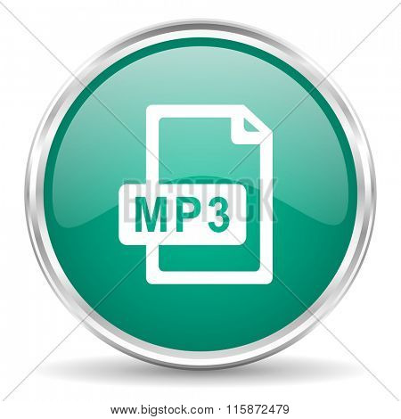 mp3 file blue glossy circle web icon