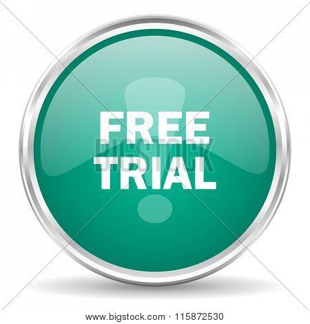 free trial blue glossy circle web icon