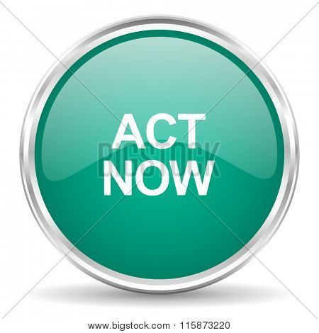 act now blue glossy circle web icon