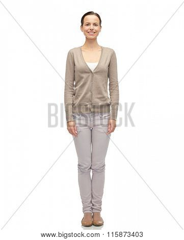smiling young woman in cardigan