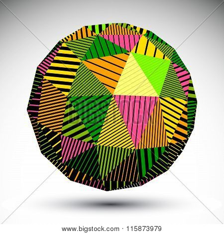 Vivid Geometric Spherical Structure With Parallel Lines. Bright Striped Modern Object, Science And T