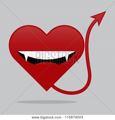 Red Vampire Heart With Tail And Shadow. Vector Illustration Valentines Day I Love You Concept.