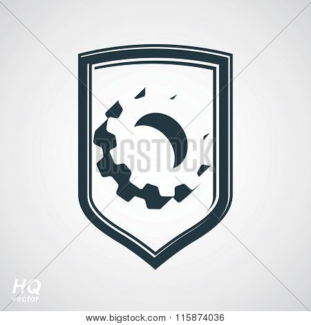 3d graphic gear symbol on shield heraldic escutcheon with an engineering design element