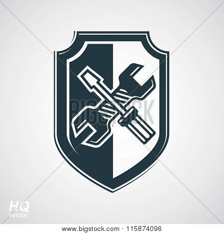 Screwdriver and wrench crossed design graphic element. Vector grayscale defense shield.