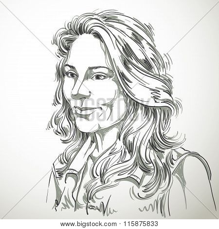 Vector Art Drawing, Portrait Of Gorgeous Dreamy Girl Isolated On White. Facial Expressions, People P