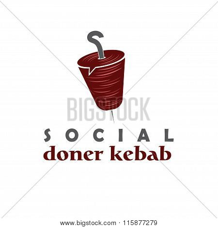 Social Doner Kebab Concept Vector Design Template
