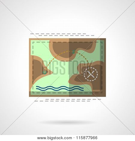 Camping flat vector icon. Trekking map