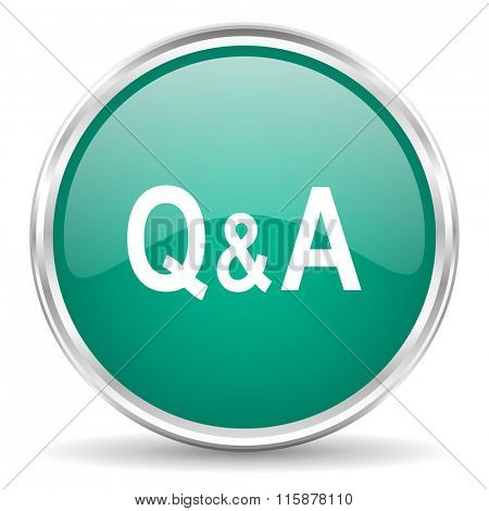question answer blue glossy circle web icon