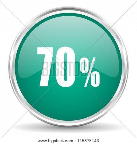 70 percent blue glossy circle web icon