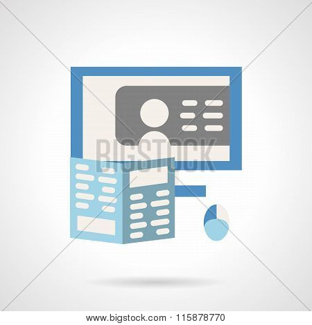 Training online flat color vector icon.