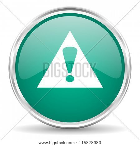 exclamation sign blue glossy circle web icon