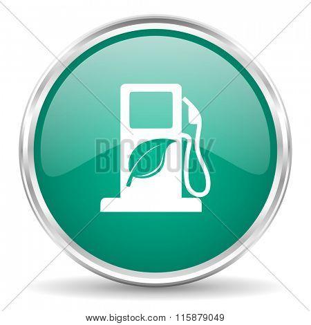 biofuel blue glossy circle web icon