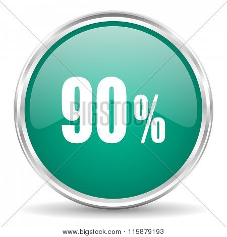 90 percent blue glossy circle web icon