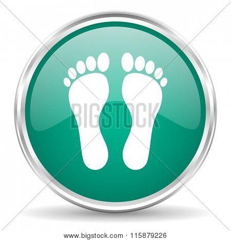 foot blue glossy circle web icon
