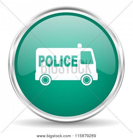 police blue glossy circle web icon