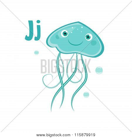 Jellyfish. Funny Alphabet, Animal Vector Illustration