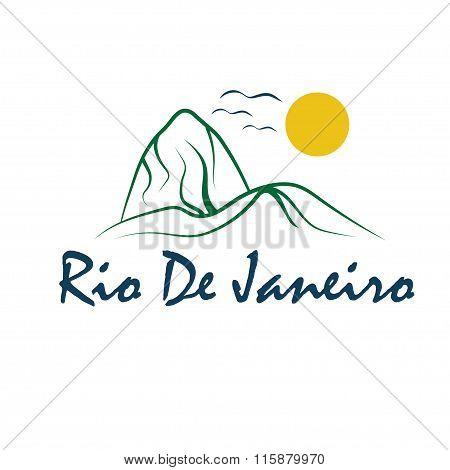 Rio De Janeiro Illustration With Sugar Head Hill