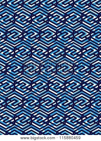 Geometric Symmetric Lined Seamless Pattern, blue Vector Endless Background. Decorative