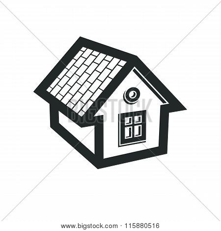 Simple Mansion Icon Isolated On White Background, Vector Abstract House. Country House, Conceptual S