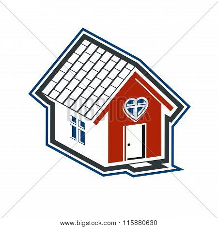 Family House Abstract Icon, Harmony At Home Concept. Simple Building, Real Estate Business, Architec