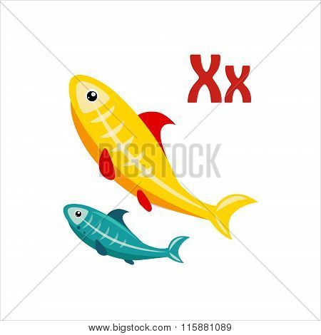 X-Ray Tetra. Funny Alphabet, Animal Vector Illustration