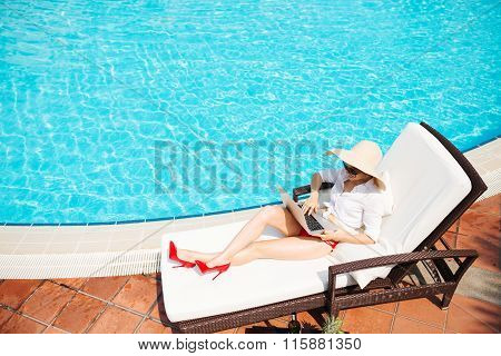 Workplace at the pool