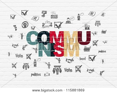 Politics concept: Communism on wall background