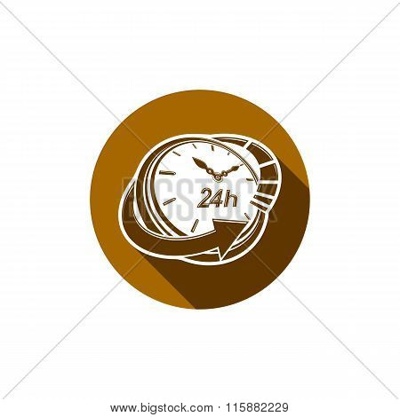 Graphic Web Vector 24 Hours Timer, Around-the-clock Pictogram. Business Time Management Illustration