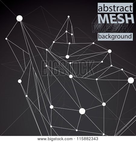 Vector Digital 3D Abstraction, Lattice Geometric Polygonal Template, Perspective Chaotic Wireframe U