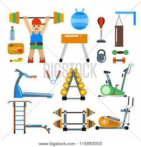 Fitness gym club vector icons. Athlet and sport tools. Sportsman silhouette, bicycle track, damn lad