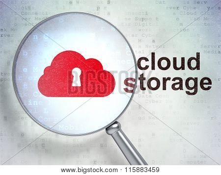 Cloud computing concept: Cloud With Keyhole and Cloud Storage with optical glass