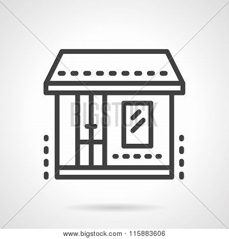 Market. Storefronts black line vector icon