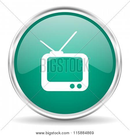 tv blue glossy circle web icon
