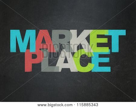 Marketing concept: Marketplace on School Board background