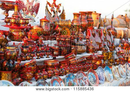 Colorful Russian Wooden Souvenirs At The Market