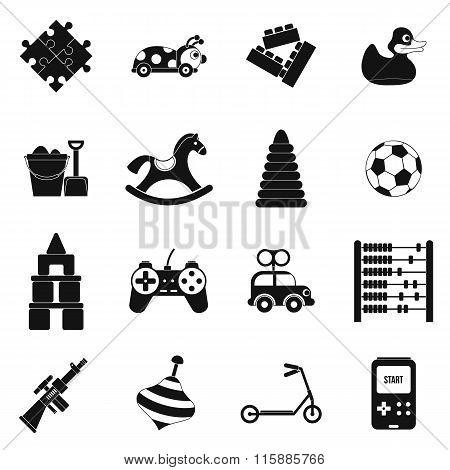 Toys black simple icons set