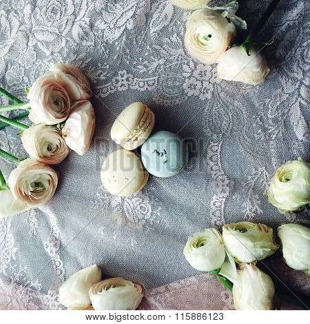 Flowers And Macaroon